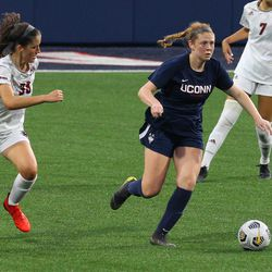 UConn's Sophie McCarthy #9 during the UMass Minutewomen vs the UConn Huskies at Morrone Stadium at Rizza Performance Center in an exhibition women's college soccer game in Storrs, CT, Monday, August 9, 2021.