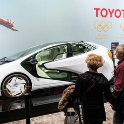 The LQ, a fully electric concept car from Toyota gets a look from attendees of the 2020 Chicago Auto Show Saturday at McCormick Place.