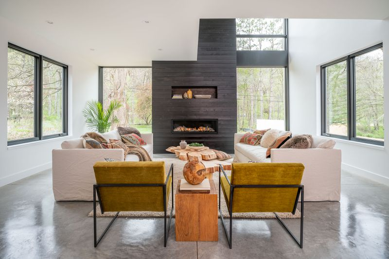 Shiplap fireplace in a living room