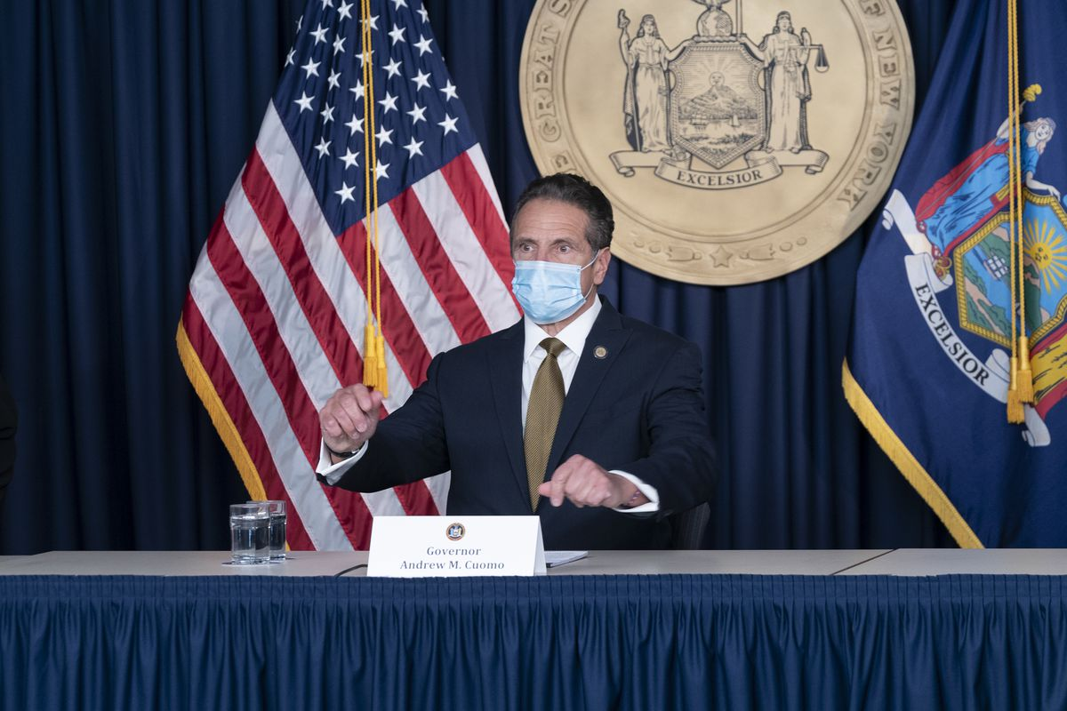 New York State Governor Andrew Cuomo makes daily media...