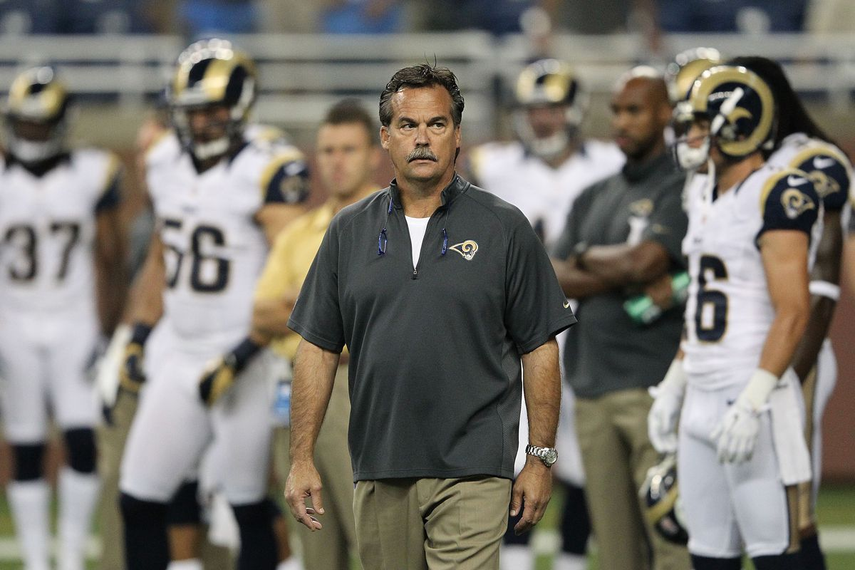 DETROIT, MI - SEPTEMBER 09: St. Louis Rams head coach Jeff Fisher watches the warms up prior to the start of the season opener against the Detroit Lions at Ford Field on September 9, 2012 in Detroit, Michigan.  (Photo by Leon Halip/Getty Images)