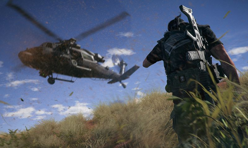 A pre-render shot of a helicopter landing in Ghost Recon Wildlands