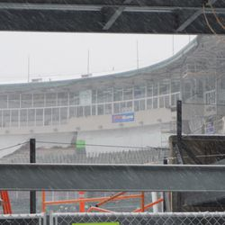 A view of the press box area, looking through the girders along Waveland Avenue