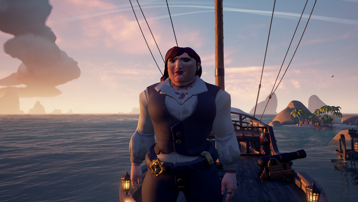 Sea of Thieves - a pirate captain looks out at the sea from the prow of her sloop