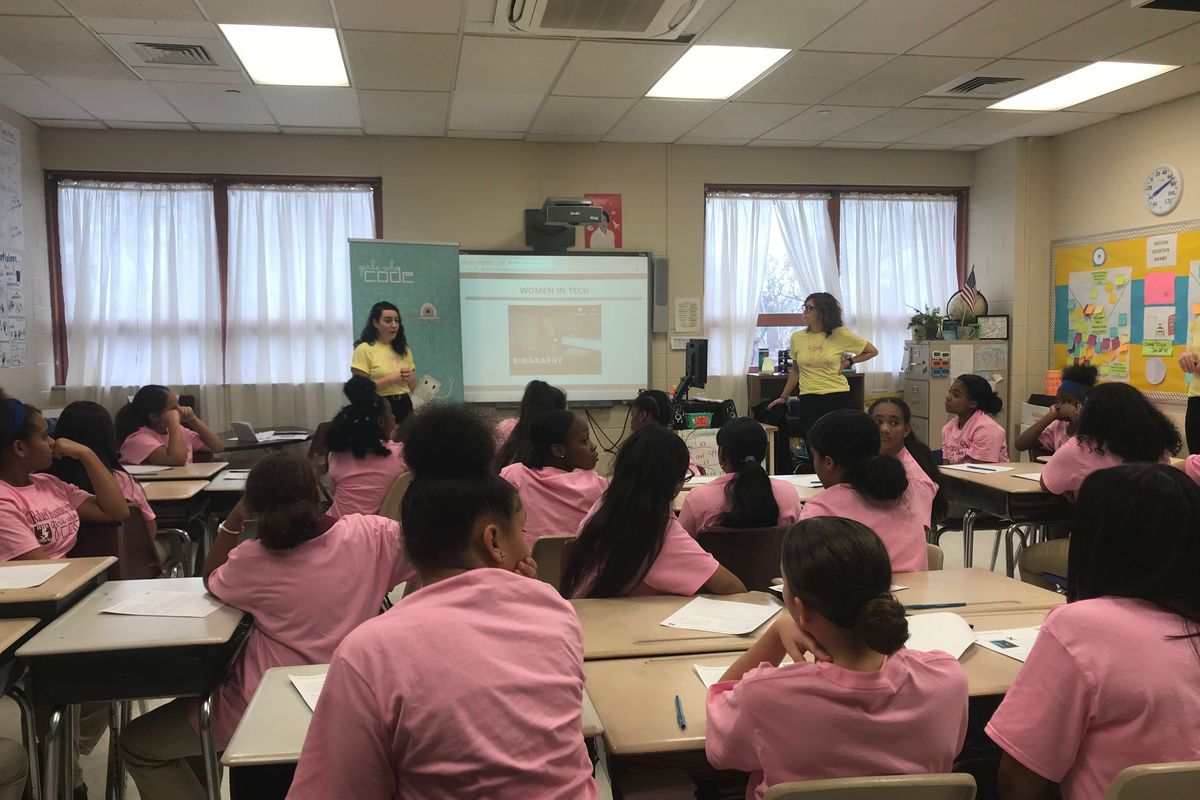 Students at announcement of Girls Who Code partnership with Newark Public Schools at Rafael Hernandez School