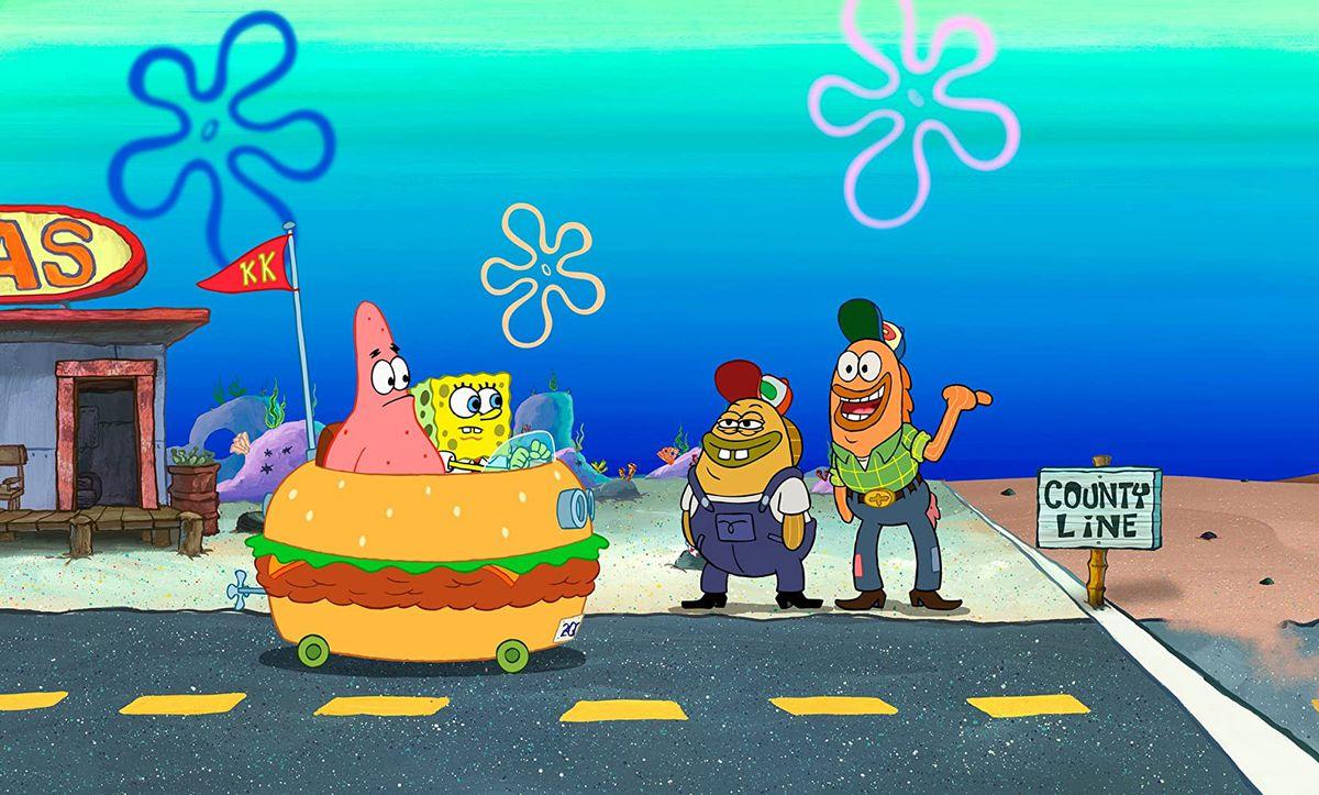 SpongeBob and Patrick ride a Krabby Patty car