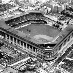 FILE - This file photo of Sept. 13, 1942 gives an aerial view of Ebbets Field, home to the Brooklyn Dodgers baseball team, in Brooklyn, New York. It was like a death in the family for Brooklyn baseball fans when their beloved Dodgers left the borough behind for the California coast. But after decades without a professional sports team, Brooklyn is hitting the major leagues again on Friday, Sept. 21, 2012 when the Brooklyn Nets' new arena opens to the public.