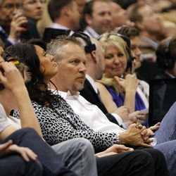Greg Miller (middle) watches as the Utah Jazz are defeated by the San Antonio Spurs 102-90 in Game 3 of the first round of the NBA playoffs Saturday, May 5, 2012, in Salt Lake City, Utah.