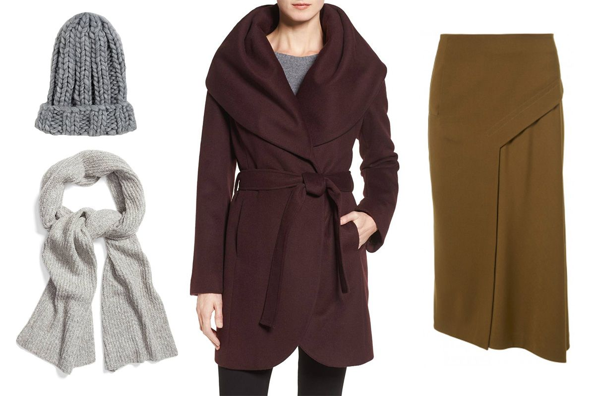 ASOS Extra Chunky Beanie, $19. Halogen Ribbed Muffler, $23.40. T Tahari Wool Blend Belted Wrap Coat, $229.90. Tibi Viscose Twill Draped Skirt, $150.