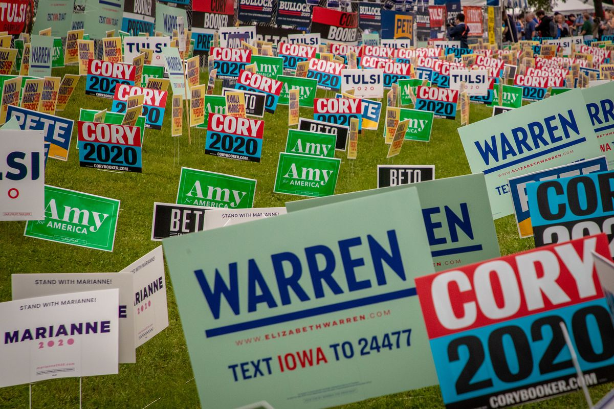 Campaign signage takes over a lawn.