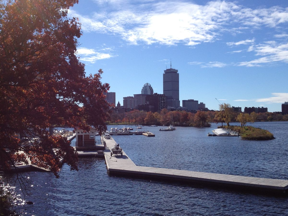 A view of the Prudential building and more from the Charles River Esplanade