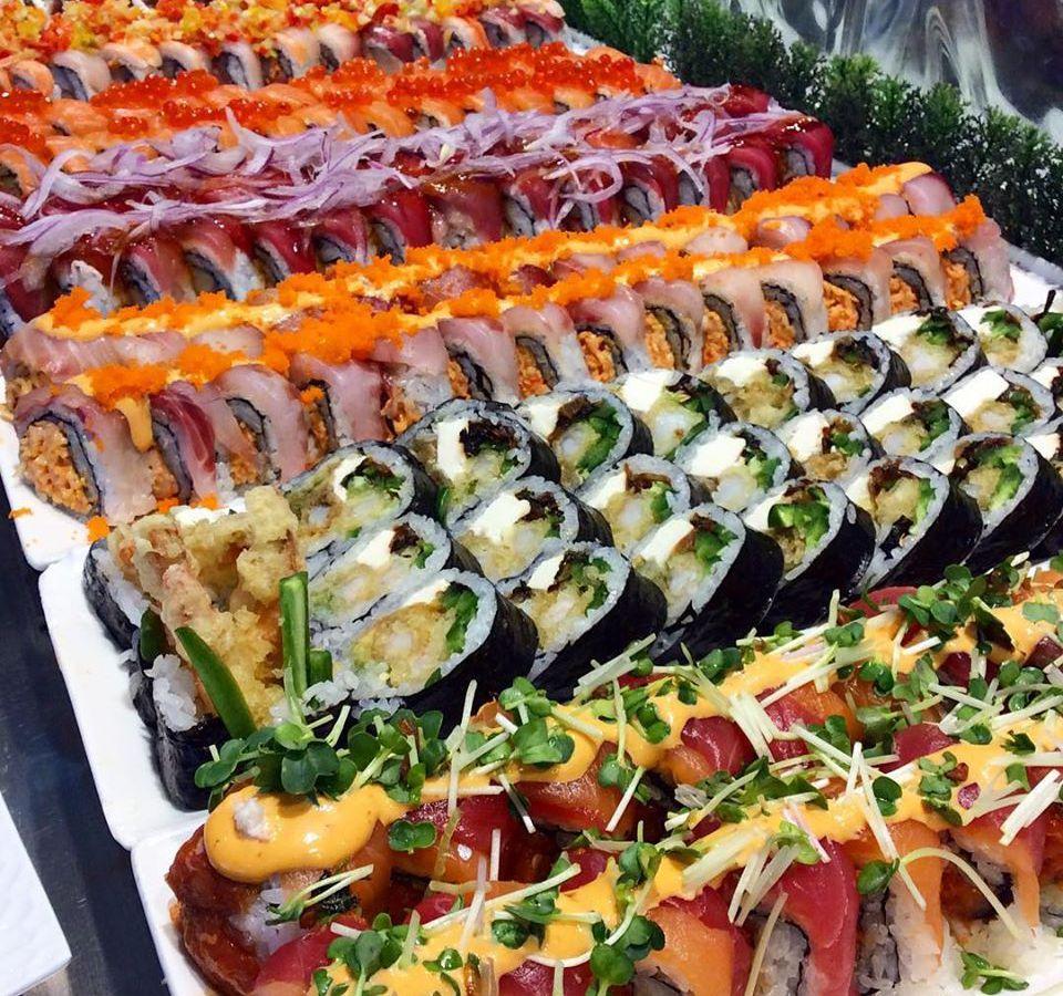 Large sushi display at buffet