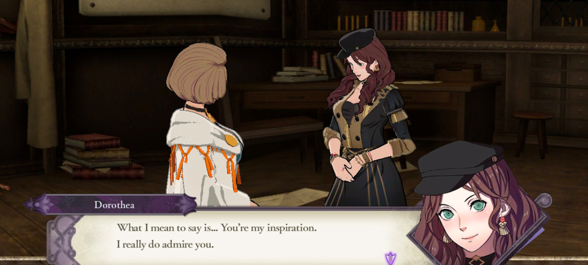 """Dorothea tells Manuela, """"What I mean to say is... You're my inspiration. I really do admire you"""" in Fire Emblem: Three Houses"""