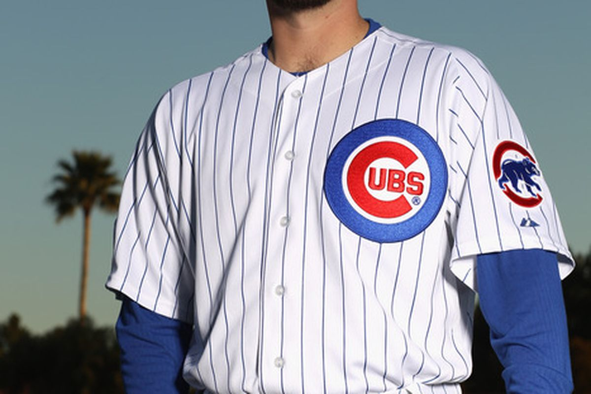 Randy Wells of the Chicago Cubs poses for a portrait during media photo day at Fitch Park in Mesa Arizona. It looks like they made him get up at dawn for this photo.  (Photo by Ezra Shaw/Getty Images)