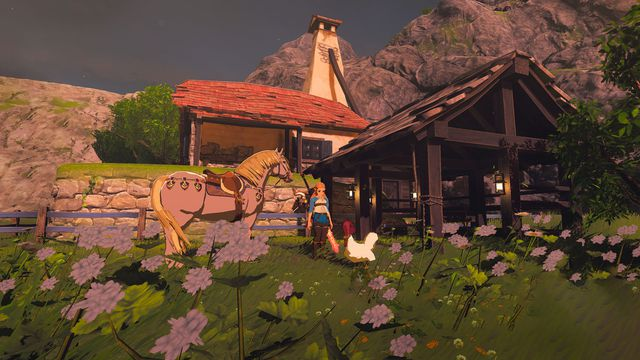 Zelda stands in front of Link's house, along with a chicken and horse.