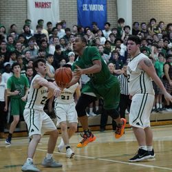 Notre Dame's Anthony Sayles (2) makes his way into the lane for two points, Friday 02-08-19. Worsom Robinson/For the Sun-Times.