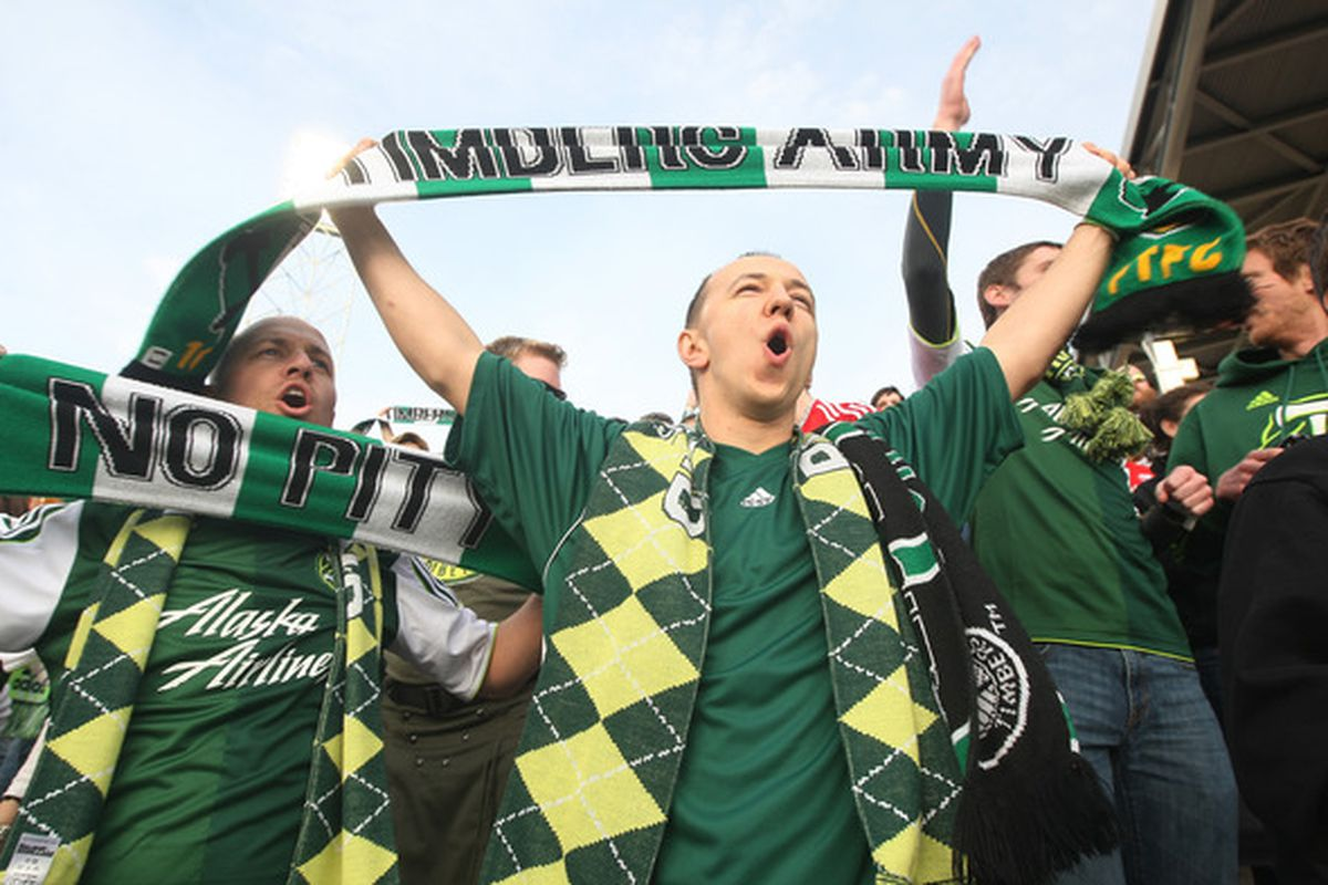 Fans of the Portland Timbers celebrate prior to their match in Colorado. Chicago will be the first club to experience the home atmosphere in Portland as the Timbers host the Fire on Thursday.