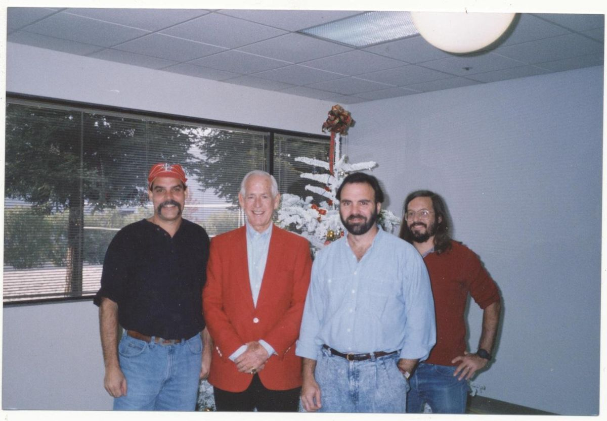 <em>The aggressively early-1990s-looking '</em>Relief Pitcher'<em> team at Atari HQ: Mike Hally, Jack Buck, Don Diekneite, Peter Lipson</em>. (Courtesy of MikeHally)