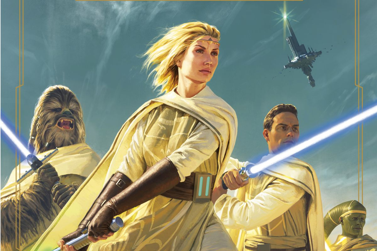 Cover art for Light of the Jedi by Charles Soule shows four jedi — including a wookie — against a bright blue sky.