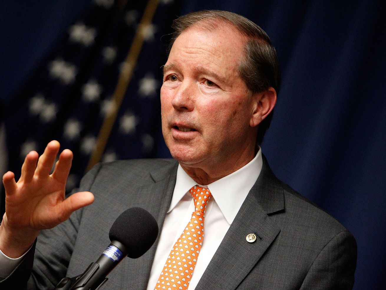Sen. Tom Udall (D-NM) speaks at a forum about campaign finance reform in 2016.