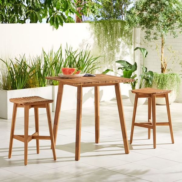 2 wooden stools and table