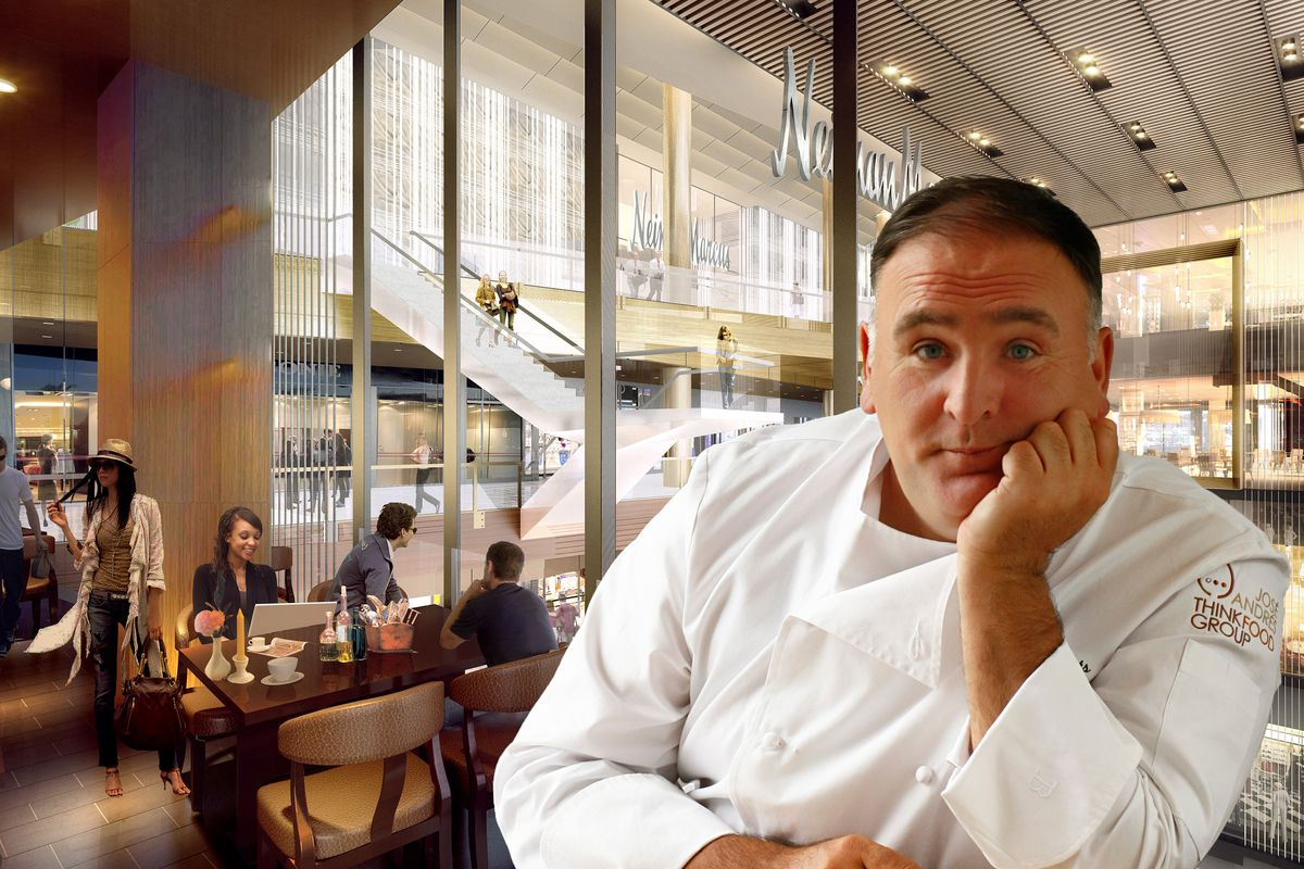 Jose Andres in a chef's coat inside the Shops at Hudson Yards