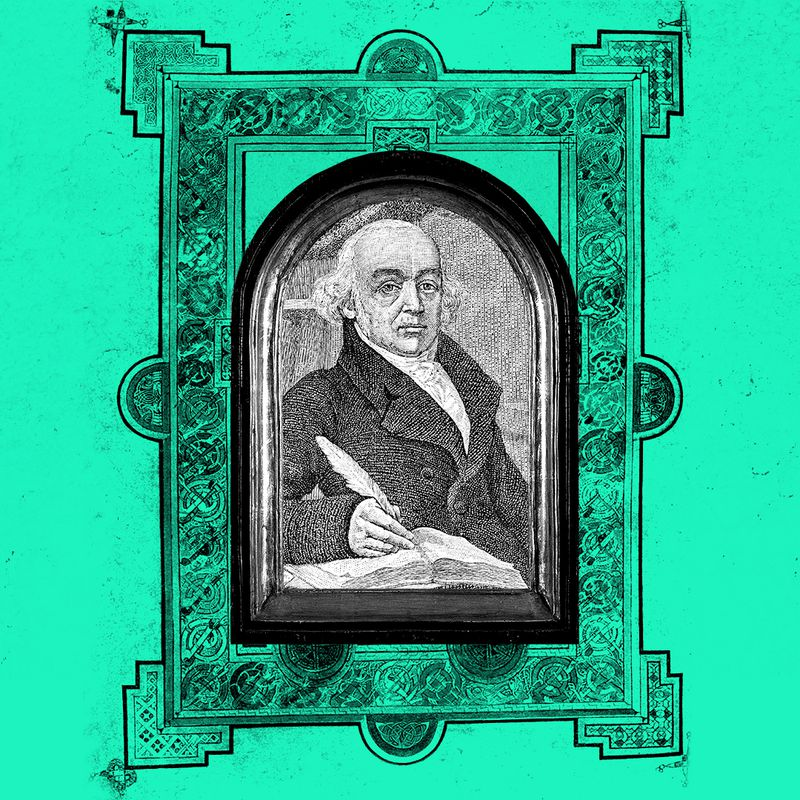 The founder of homeopathy, Samuel Hahnemann, in a religious looking frame.