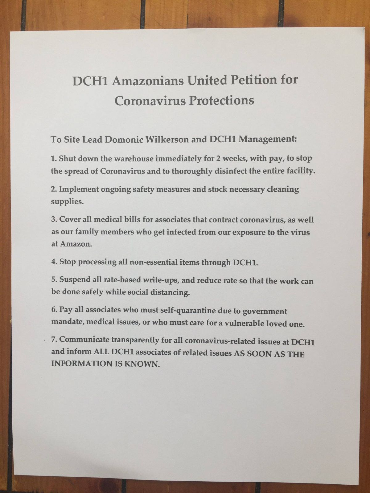 Seven-point petition from Amazon warehouse employees in Little Village to management.