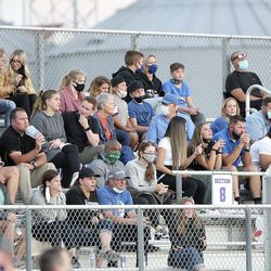 Pleasant Grove fans watch Pleasant Grove play Lehi in a football game at Lehi High School in Lehi on Friday, Sept. 11, 2020. Pleasant Grove won 35-29 in overtime.