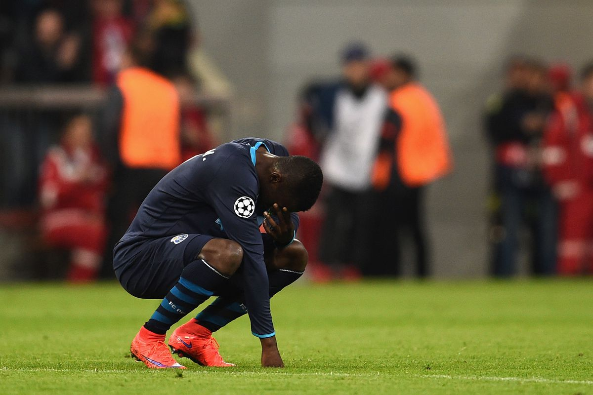 MUNICH, GERMANY - APRIL 21: Jackson Martinez of FC Porto after defeat in the UEFA Champions League Quarter Final Second Leg match between FC Bayern Muenchen and FC Porto at Allianz Arena on April 21, 2015 in Munich, Germany. (Photo by Dennis Grombkow