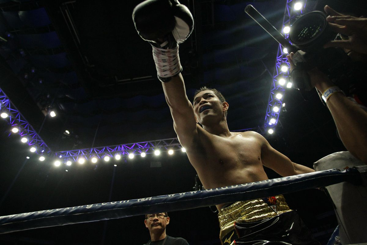 Nonito Donaire of the Philippines rejoices after defeating...