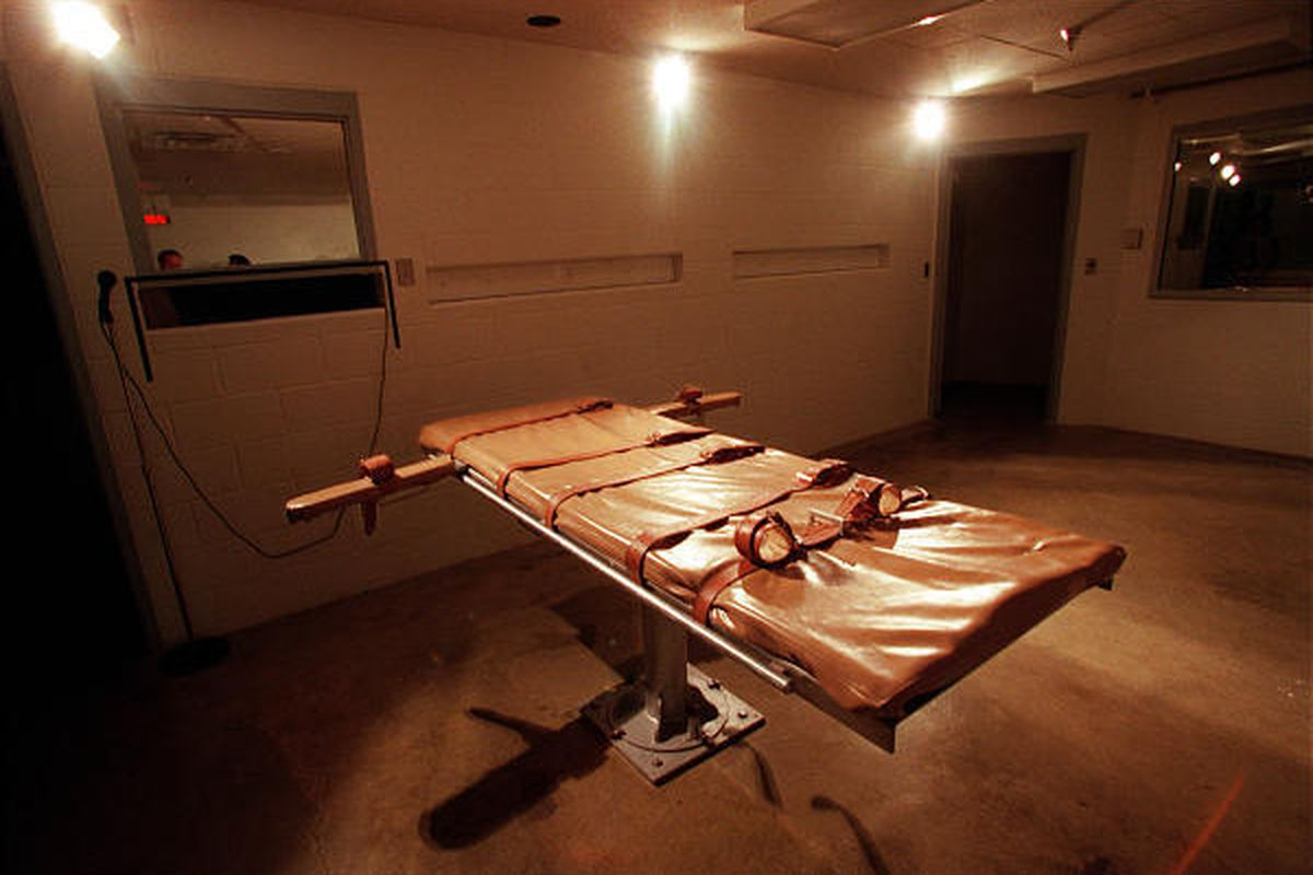 The execution room where the inmate is strapped down to a bed and then given a lethal injection at the Utah State Prison.