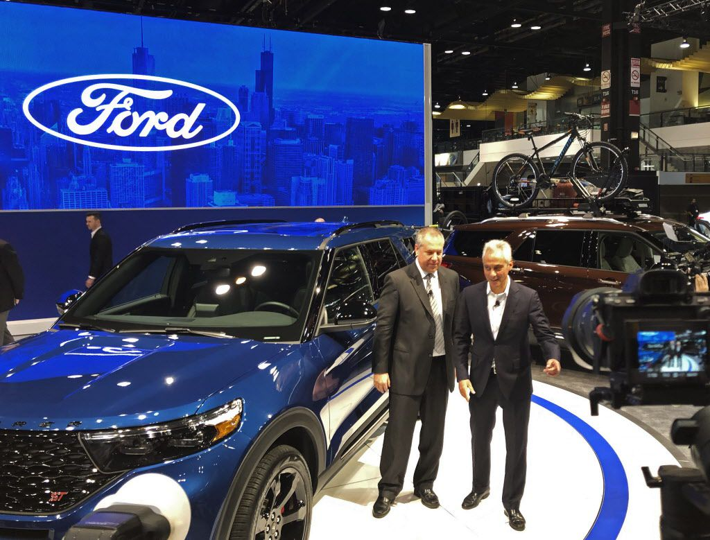 Mayor Rahm Emanuel with Joe Hinrichs, Ford's president of global operations, at the Chicago Auto Show on Thursday, Feb. 7, 2019.   Mitch Dudek/Sun-Times