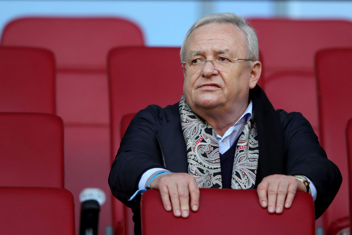AUGSBURG, GERMANY - APRIL 07: Martin Winterkorn looks on during the Bundesliga match between FC Augsburg and FC Bayern Muenchen at WWK-Arena on April 7, 2018 in Augsburg, Germany.