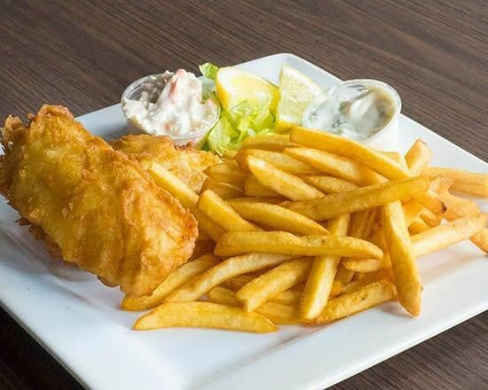 A plate of fried fish and fries.