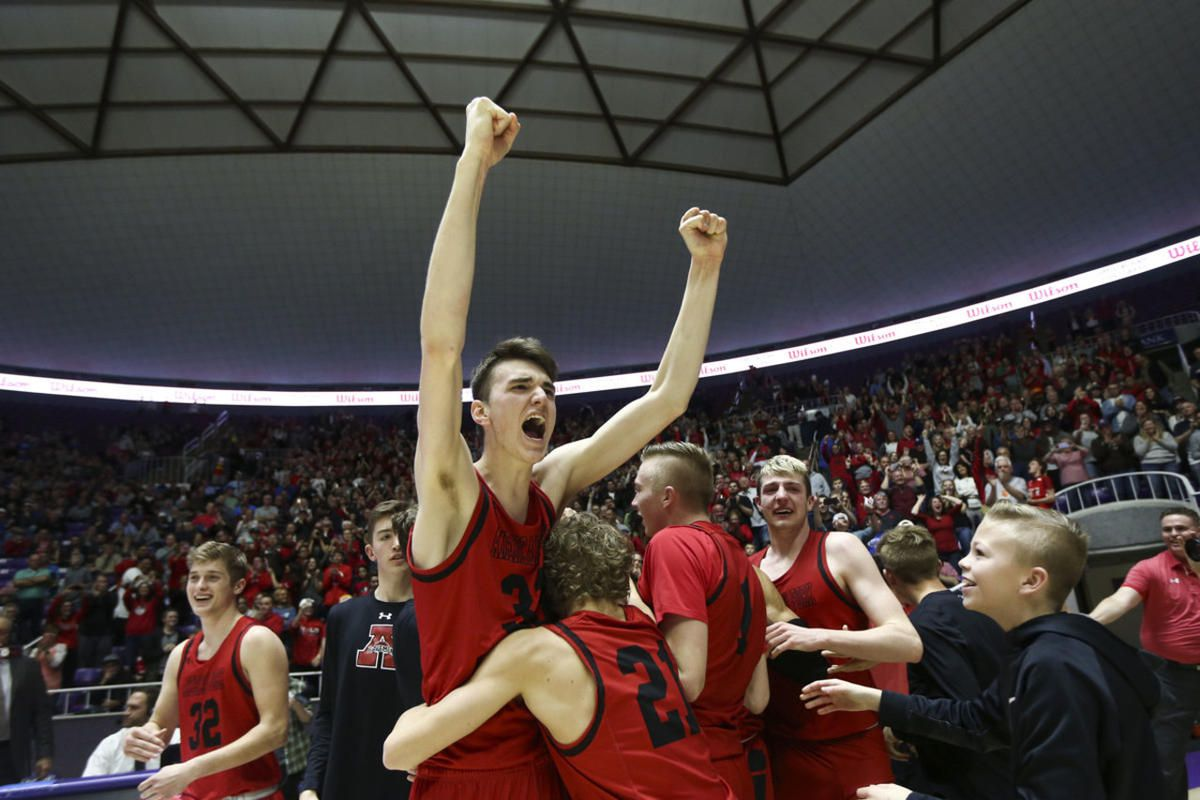American Fork's Isaac Johnson (33) celebrates beating the Pleasant Grove Vikings during the 6A Championship game at the Dee Events Center in Ogden on Saturday, March 2, 2019.