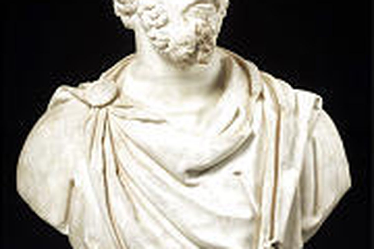 Portrait of a bearded man, 161-167 B.C. (marble, 33-11/16 inches) at Museum of Art, BYU. Courtesy MFA, Boston.