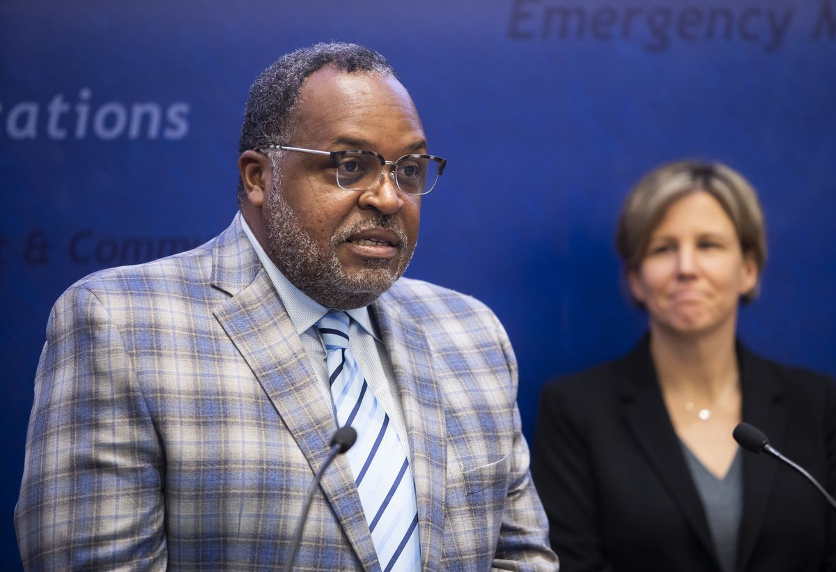 From left, Dr. Kenneth Fox, Chicago Public Schools Chief Health Officer and Dr. Jennifer Layden, Deputy Commissioner, Chicago Department of Public Health, discuss actions the district is taking to prevent the spread of coronavirus in Chicago.   Rich Hein/Sun-Times