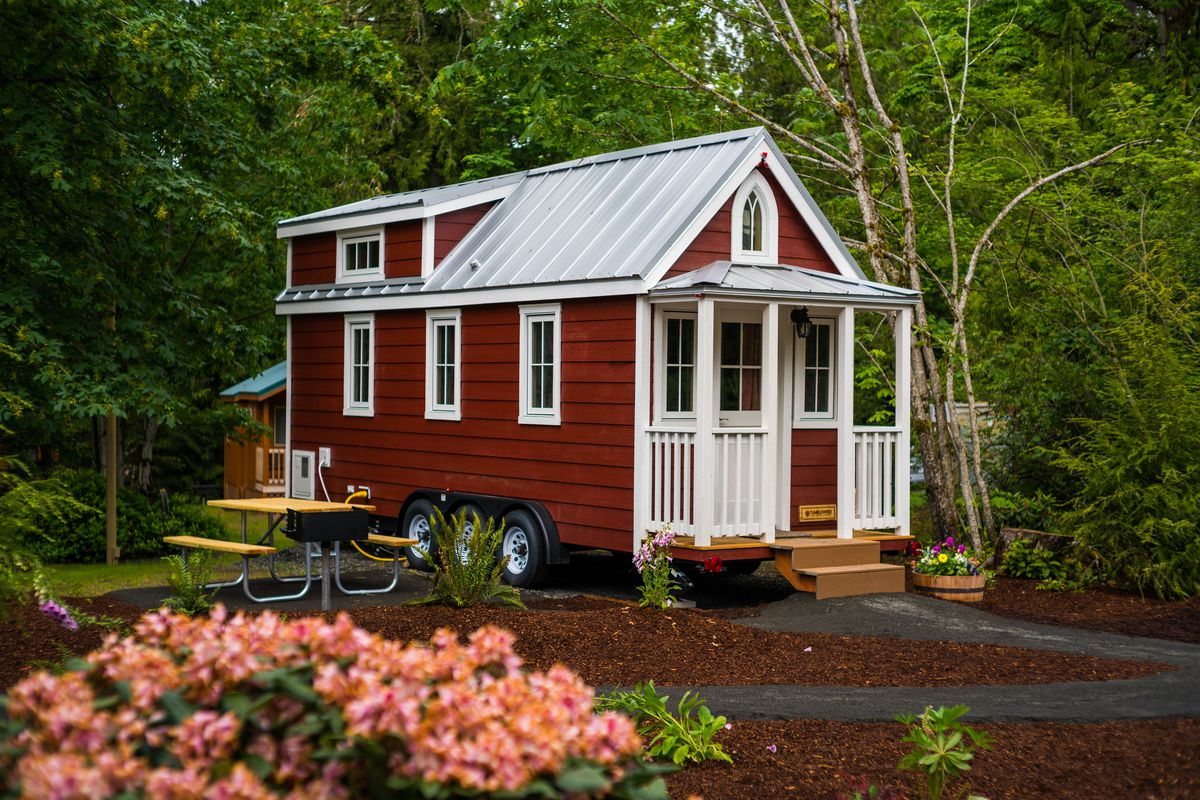 A Red And White Tiny Home In Mt Hood Oregon