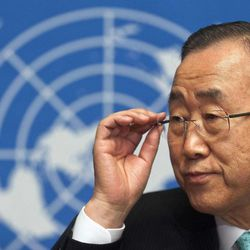 United Nations Secretary-General Ban Ki-moon adjusts his glasses during a press conference about the situation in Syria at the European headquarters of the United Nations in Geneva, Switzerland, Thursday, April 12, 2012.