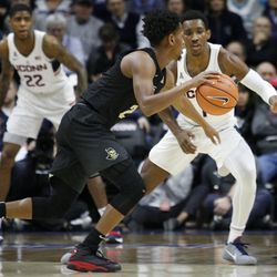 The UCF Knights take on the UConn Huskies in a men's college basketball game at Gampel Pavilion in Storrs, CT on January 10, 2018.