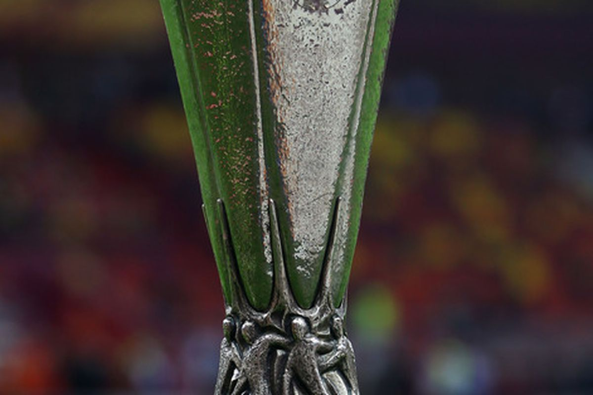 BUCHAREST, ROMANIA - MAY 09:  The Europa League trophy on display prior to the UEFA Europa League Final between Atletico Madrid and Athletic Bilbao at the National Arena on May 9, 2012 in Bucharest, Romania.  (Photo by Alex Grimm/Getty Images)