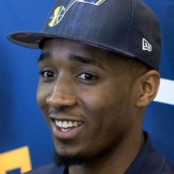 Donovan Mitchell, who was selected by the Utah Jazz in last Thursday's NBA draft, speaks to reporters at the Grand America Hotel in Salt Lake City on Wednesday, June 28, 2017.