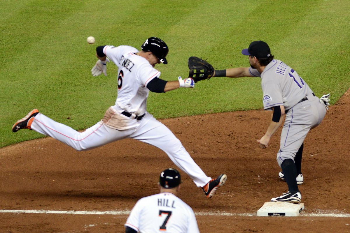 Jose Fernandez didn't quite make it there in time on this play. It was about the only thing he didn't get right on Saturday.