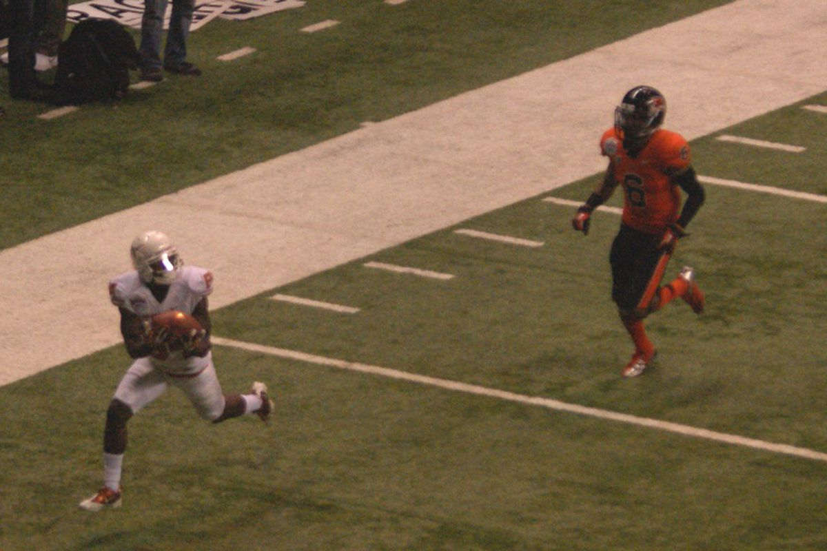 Oregon St. let Texas' Marquise Goodwin, and the Alamo Bowl, get away from them.