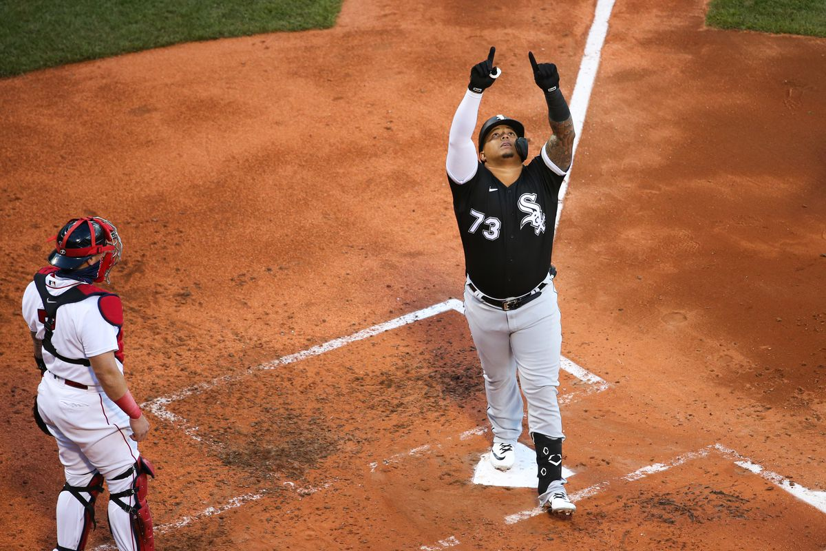 Yermin Mercedes #73 of the Chicago White Sox reacts after hitting a solo home run in the fourth inning against the Boston Red Sox during game two of a doubleheader at Fenway Park on April 18, 2021 in Boston, Massachusetts.