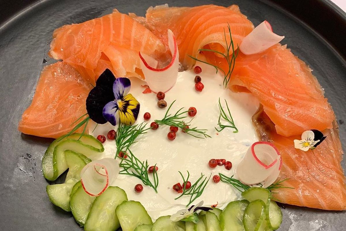 The house cured salmon at the temporary, new restaurant Bella Bistro inside the Sahara Las Vegas resort.