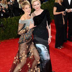 Shailene Woodley and Kirsten Dunst, both in Rodarte
