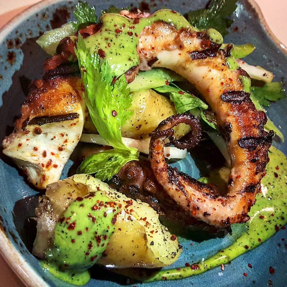 Spicy grilled octopus at Benedetto
