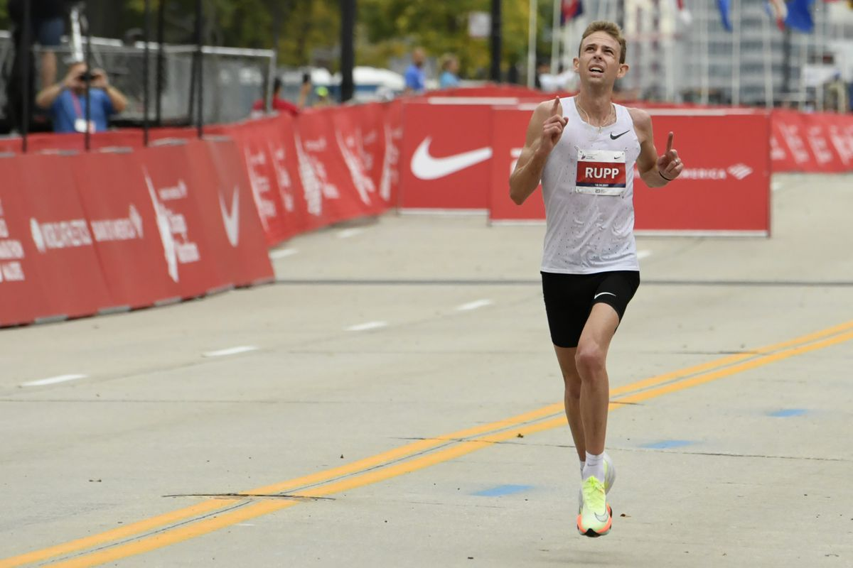 Galen Rupp, of the United States, finishes in second place in the men's Chicago Marathon, Sunday, Oct. 10, 2021, in Chicago.